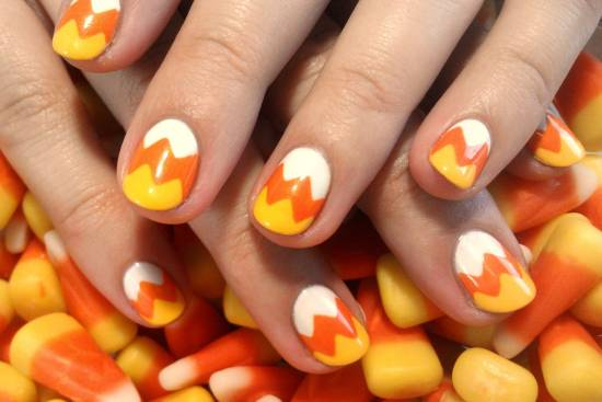 Candy Corn Nails In Honor Of Halloween