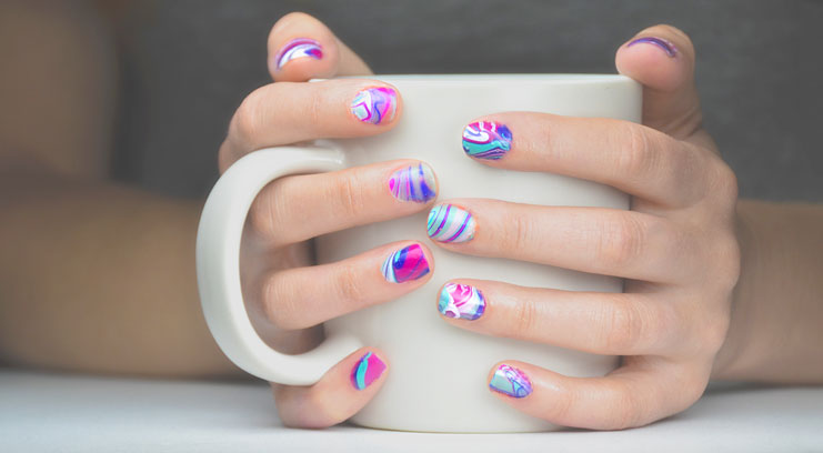 Easy Marbleized Nails