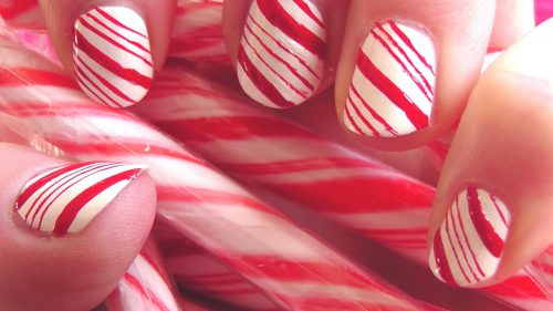 Candy Cane Nails For The Holidays