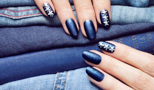 Wondering How To Pull Off The Denim Manicure Look?