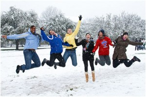 people enjoying snow